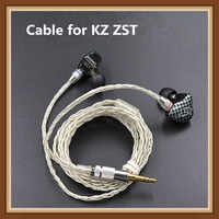 Newest KZ ZST ED12 Cable 2pin 0.75 mm Upgraded Silver Plated Cable Earphone Upgrade Cable for KZ earphone KZ ZST ED12