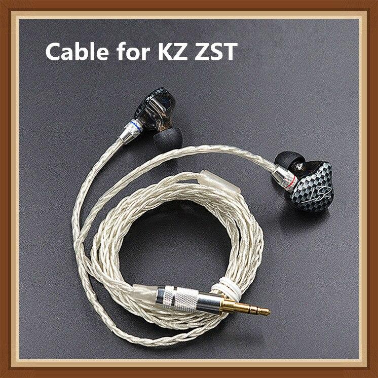 Recentes KZ ZST ED12 Cabo 2pin 0.75 milímetros de Prata Banhado A Cabo Atualizado Atualização do Fone De Ouvido Cabo para KZ fone de ouvido KZ ZST ED12