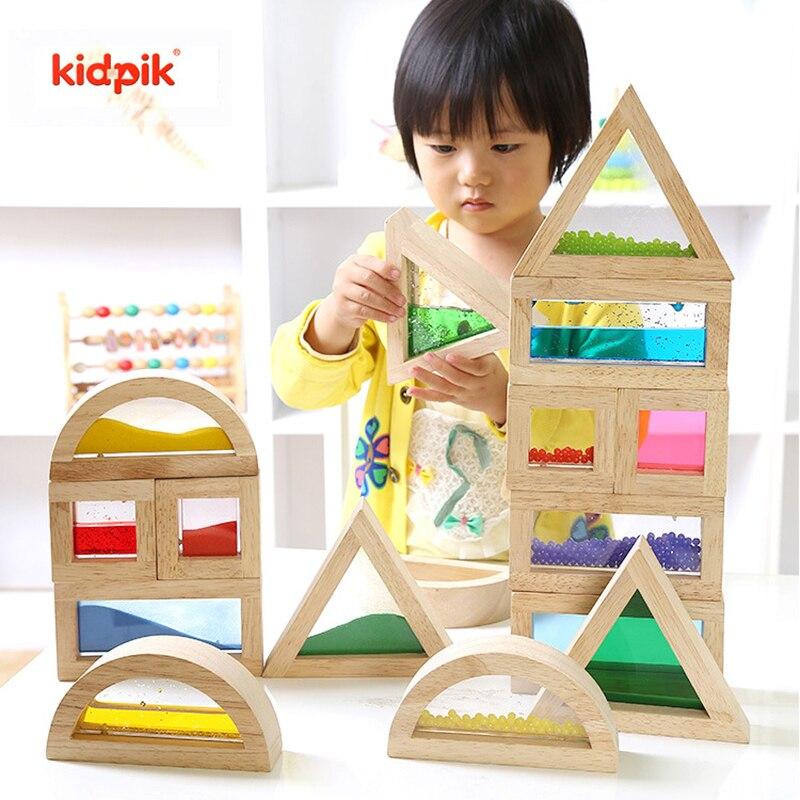 Protection de l'environnement patchwork blocs en bois acrylique arc-en-ciel blocs de construction infantile enfants jouets éducatifs