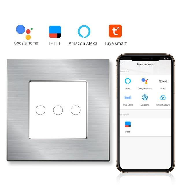 Interruptor táctil WIFI bingoelece 3 Gang 1 Way interruptor de pared de Automatización Inteligente para el hogar Control inalámbrico por Tuya APP aleación de aluminio interruptor
