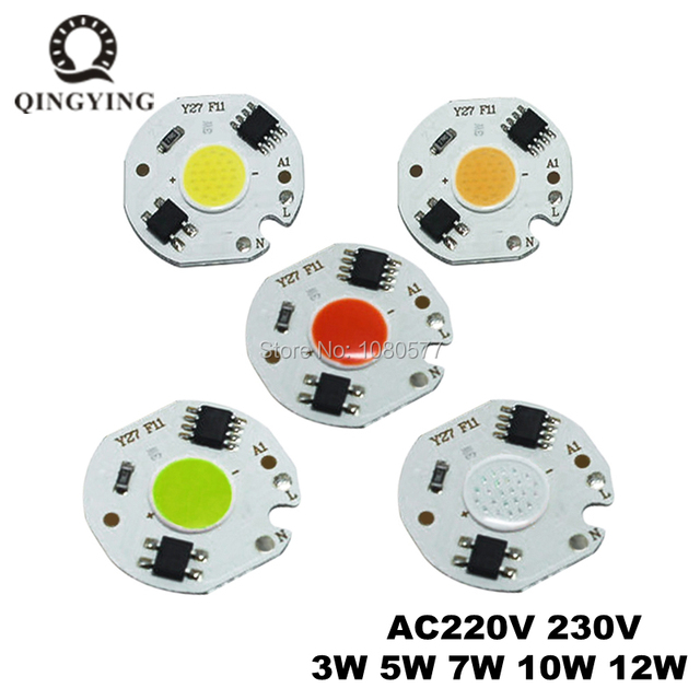 2-10pcs 3W 5W 7W 10W 12W LED COB Chip 220V Smart IC Driver Lamp bulb RED Green Blue Light Source For DIY Flood Light Spotlight