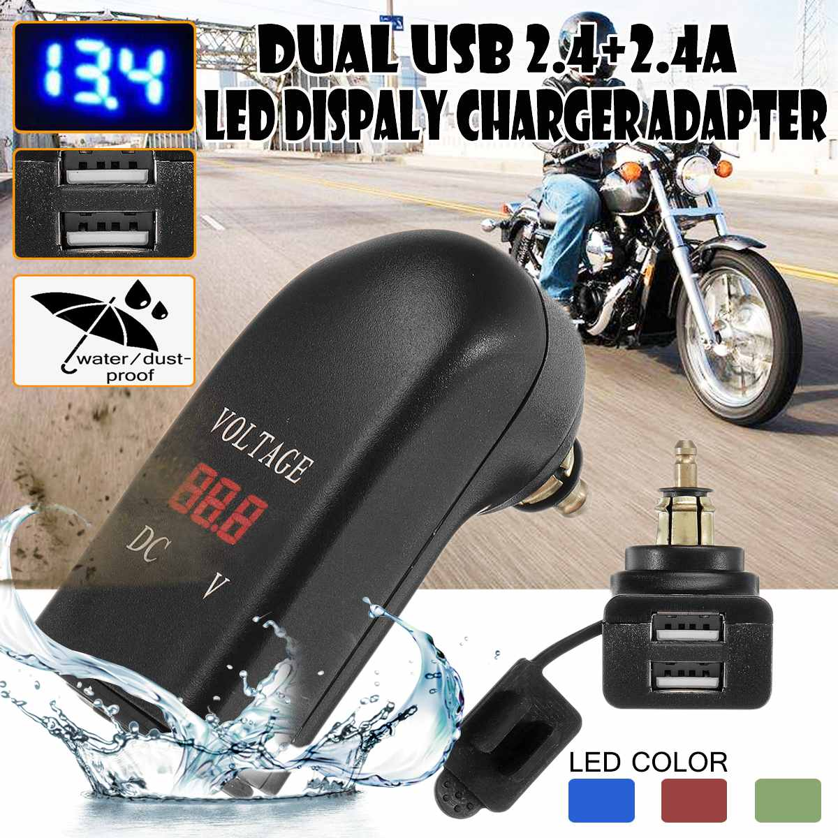 Motorcycle Din <font><b>Charger</b></font> 12-24V 4.8A Dual <font><b>USB</b></font> <font><b>Charger</b></font> Adapter LED EU Plug For <font><b>BMW</b></font> Din Socket Hella Plug Motor Waterproof image
