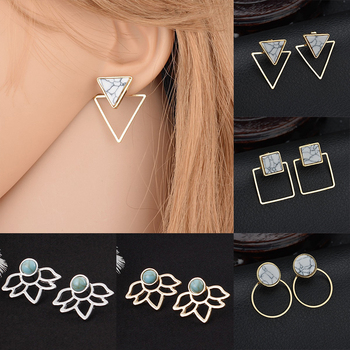 Fahsion Ear Clip Geometry Earrings Round Party Women Boho Bohemian Marble Pattern Triangle Square Jewelry