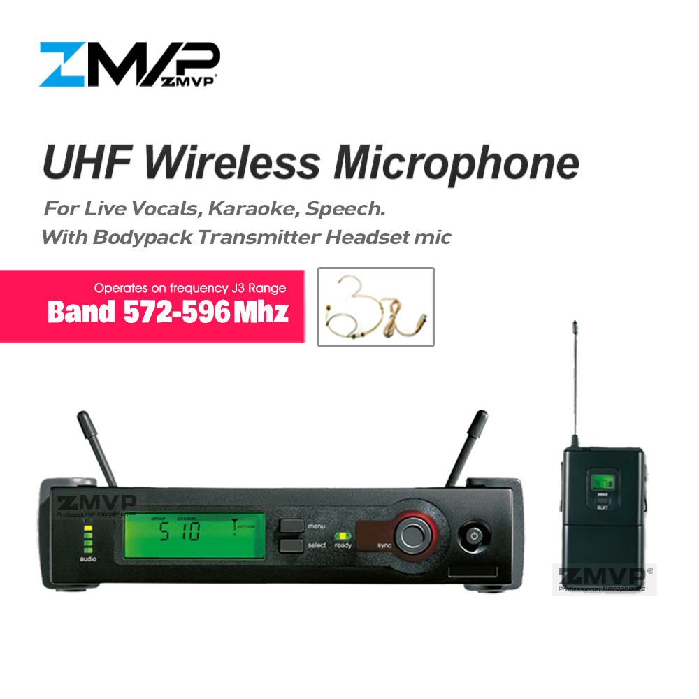 ZMVP UHF Professional SLX14 Wireless Microphone Vocal System With SLX Bodypack Transmitter Headset Microphone Band J3 572-596Mhz professional vocal set wireless microphone system for crystal clear sound with range of 80 meters l 706