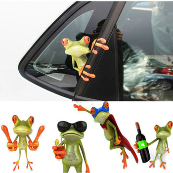 Funny 3D Cartoon Colorful Frogs Car Stickers Decal Vinyl Cover Body Scratched Car Styling Motorcycle Accessories car styling 3d car stickers funny auto ball hits car body window sticker self adhesive baseball tennis decal accessories