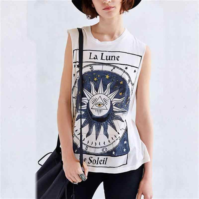 Women s T-Shirt Without Sleeves Sun Single Eye Triangle Stars Astronomical  Pattern Summer Top 6933e40ca339