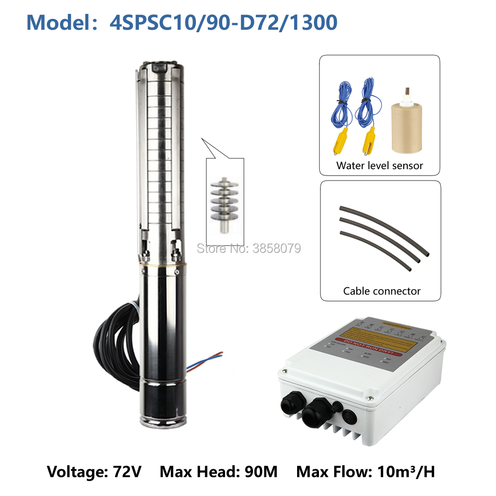 electric dc submersible pump high pressure deep well pump solar borehole pump bomba de agua sumergible <font><b>sola</b></font> 4SPSC10/90-D72/1300 image