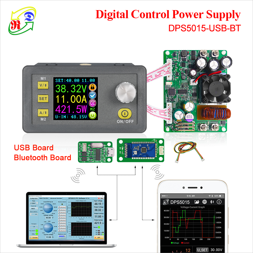 RD DPS5015 communication Constant Voltage current DC Step down Power Supply module buck Voltage converter LCD voltmeter 50V 15A-in Voltage Meters from Tools
