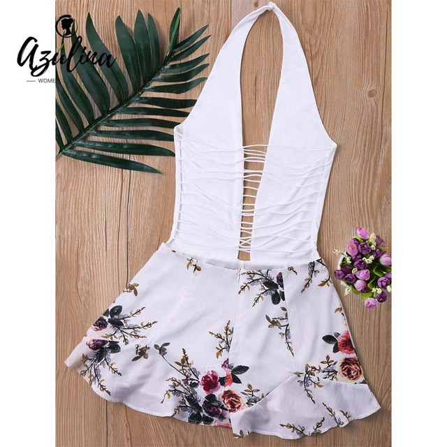 ZAFUL Ladder Low Cut Halter Romper Women Jumpsuit Summer Mini Overalls White Top With Floral Pattern Shorts Playsuit Rompers 1