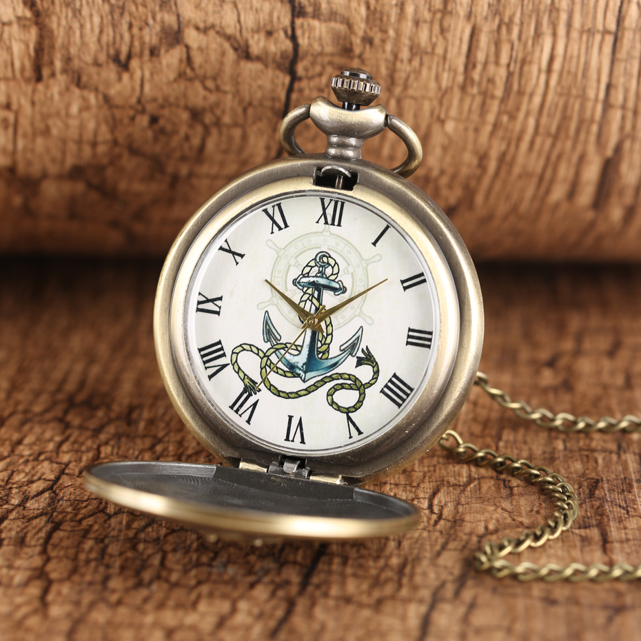 Vintage Bronze SailingTheme Quartz Pocket Watch Roman Numerals Display Necklace Clock  Exquisite Pendant Watches Dropshiping
