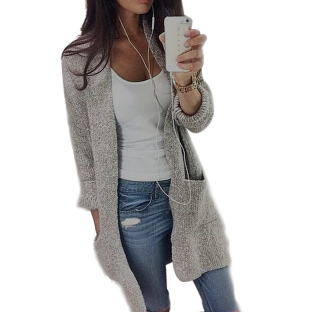 Women Coat Autumn Winter Knitted Sweaters Long Sleeve Loose Cardigan Women Open Stitch Stylish Grey