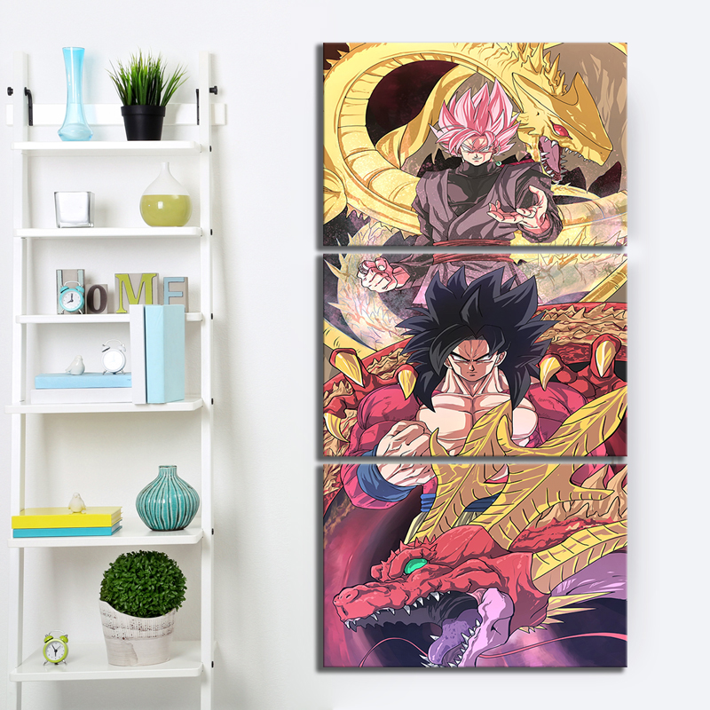 3 Piece Animation Goku Dragon Ball Canvas Printed Wall Pictures Home Decor For Living Room Dragon Ball Poster Canvas Wholesale in Painting Calligraphy from Home Garden