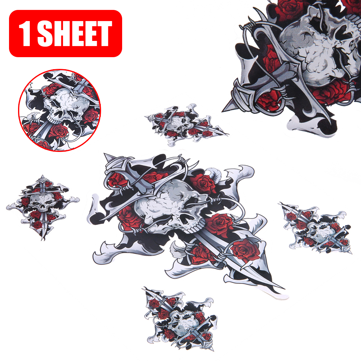 Motorbike Cool Helmet Stickers Decoration 1 Sheet Red Rose Skull Self-adhesive Sticker Decal For Motorcycle Motorbike