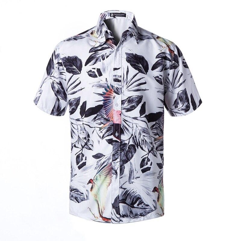 Men Hawaiian T Shirt Summer Holiday Floral Print Beach Short Sleeve Tops Blouse