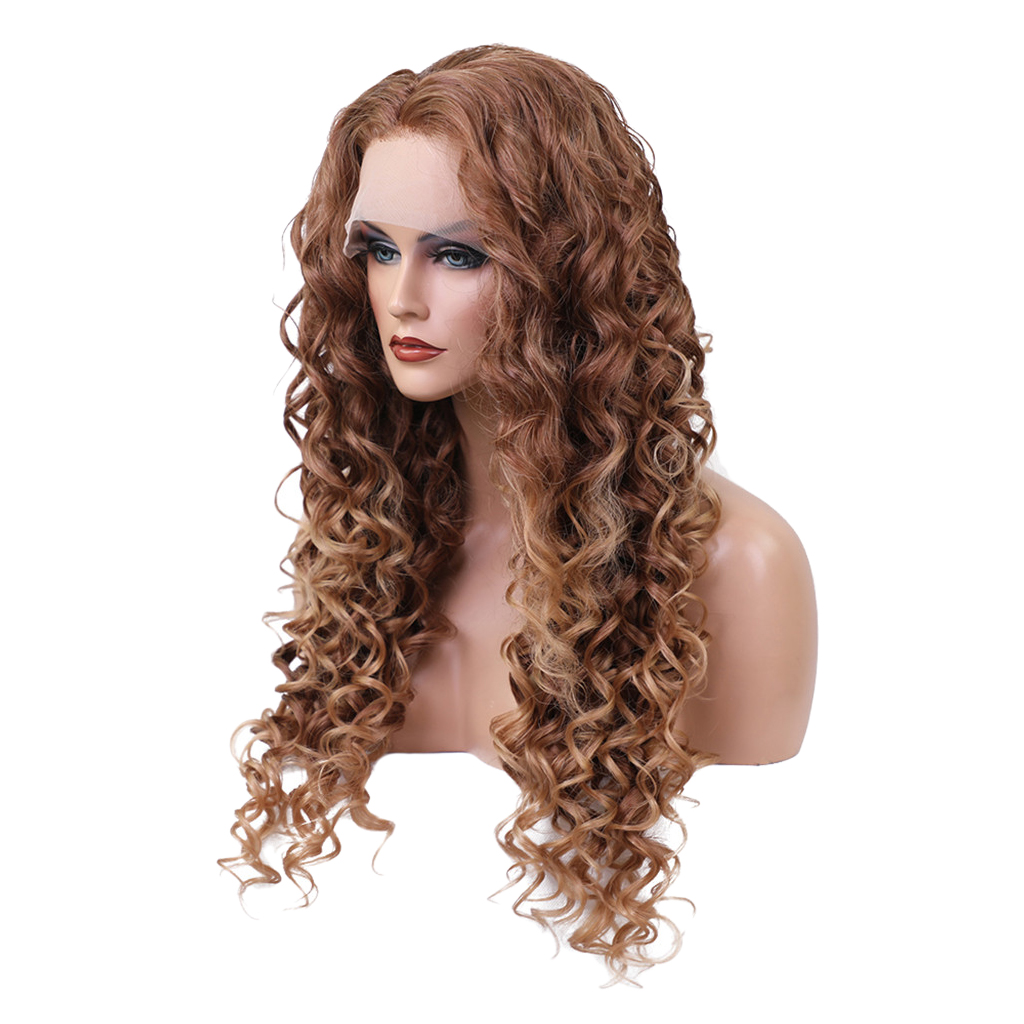 Brown Lace Front Synthetic Wigs Long Curly Afro Full Wig for Black Women long side bang slightly curly lace front synthetic wig