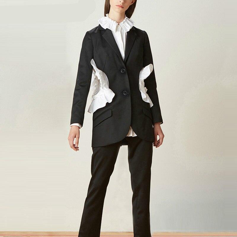 Patchwork Ruffle Coat Female Jacket Women's Blazer Long Sleeve Suit Costume Fashion Clothing Korean Big Size Autumn E050