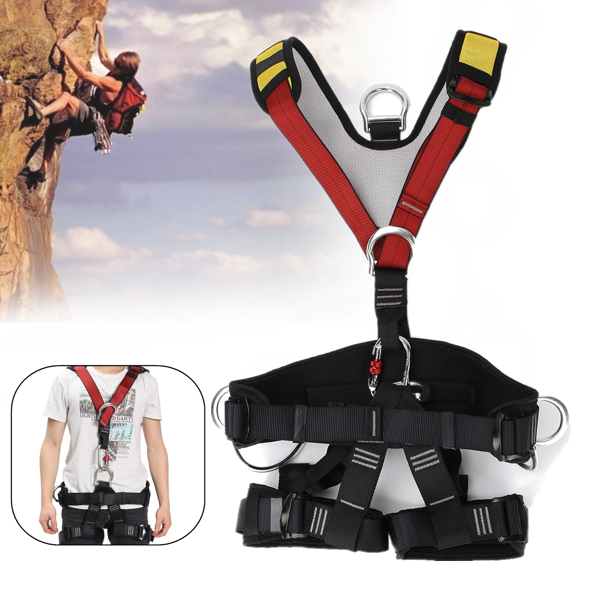 Outdoor Rock Climbing Rappelling Mountaineering accessories Body Safety Harness Wearing Seat Belt Sitting Bust Protection full body outdoor rock tree climbing rappelling mountaineering safety seat bust sitting belt harness protection gear