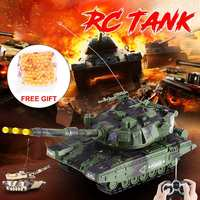 360° Rotating Interactive Twin Battle RC Radio Tank Bullet Shooting Boy Kids Toy Armored Vehicle Children Electronic RC Tank