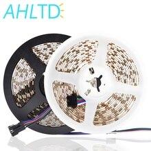 цена на DC 12V RGB LED Strip 5050 SMD 60LEDs/M Black PCB Board Flexible LED Light Not Waterproof LED Tape For TV Background Decoration