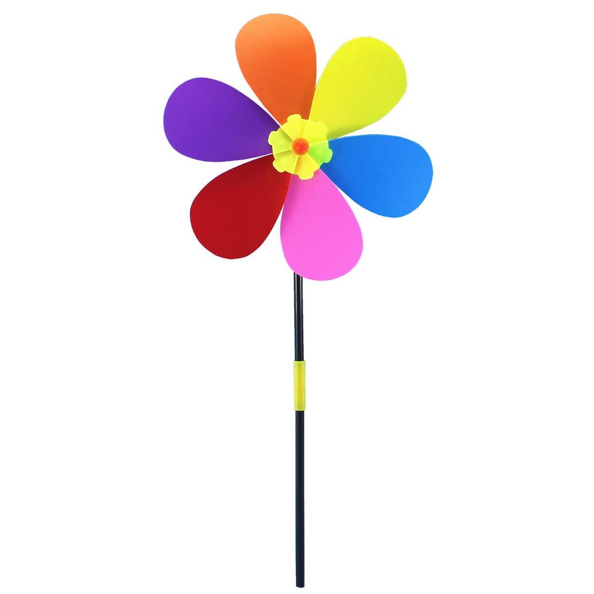Цветок шесть лепестков Радужная ветряная мельница ветряная Вертушка для двора пастбища сада пинховик для украшения детская игрушка