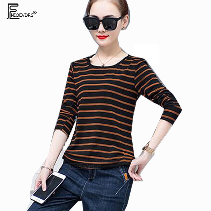 Female T-Shirt New Hot Women Fashion Long Sleeve Cute Casual Winter Spring Basic Tops Tees O Neck Striped Cotton T Shirts 1018