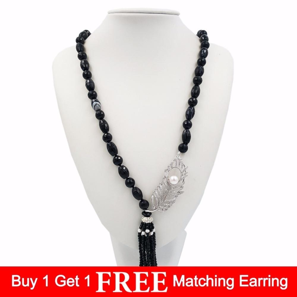 лучшая цена Natural Stone Black Band Agates Onyx&Freshwater Pearl&Cubic Zirconia Feather Pendant Tassels Fashion Long Necklace 33''/84cm