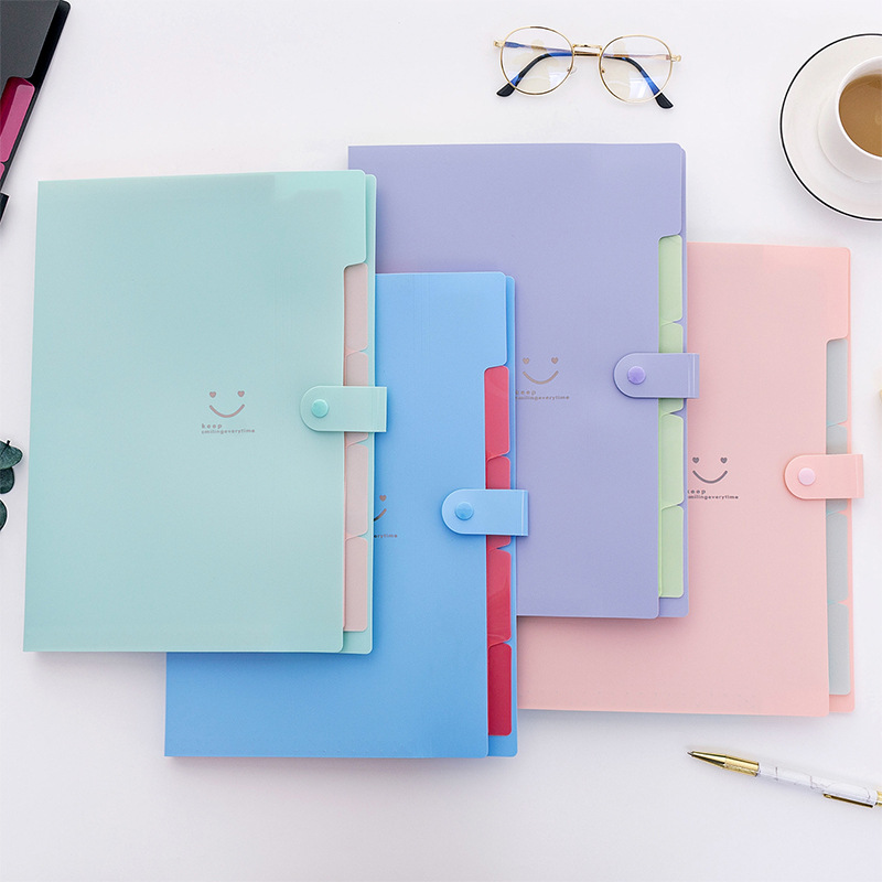 Colorful A4 Kawaii  Smile Face Waterproof 32.5*24cm PP File Folder 5 Layers Document Bag Office Stationery School Supplies