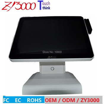 wholesale 15 inch j1900 4G ram 64Gssd capacitive touch screen POS system english VFD customer POS Terminal With MSR card reader