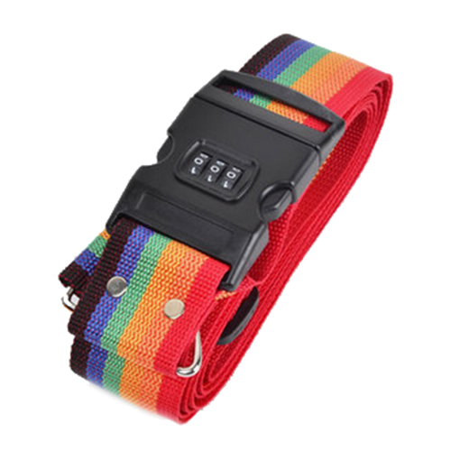 4M ABS Long Luggage Suitcase Baggage Cross Strap With Secure Coded Lock Rainbow