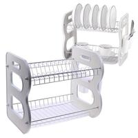 Deluxe 2 Tier Chrome Kitchen Drip Dish Drainer Plates Rack & Glass Holder Durable Metal Iron 2 Tier Chrome Kitchen Dish Rack