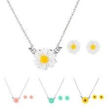 Trendy Acrylic Earring Necklace Creative Cartoon Tiny Flower Jewelry For Kids Girls