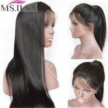 Полный парик шнурка с волосами младенца светильник яки Remy человеческих волос парики для черных женщин с волосами младенца Yaki прямой естественный цвет MS. ILSA