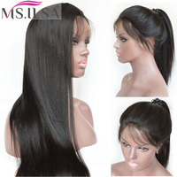 Full Lace Wig With Baby Hair Light Yaki Remy Human Hair Wigs For Black Women With Baby Hair Yaki straight Natural Color MS.ILSA