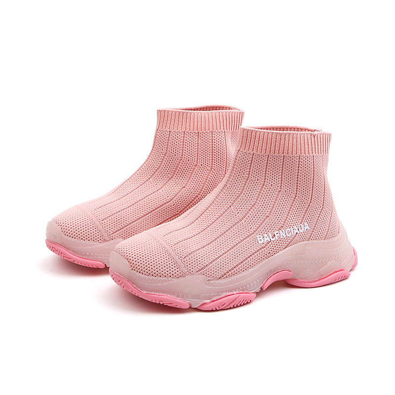 Kids Shoes 2019 Spring New Children's Sock Shoe Brand Knitting Girls Sneakers Black Pink High Top Casual Traniner 3 6 9 12 years