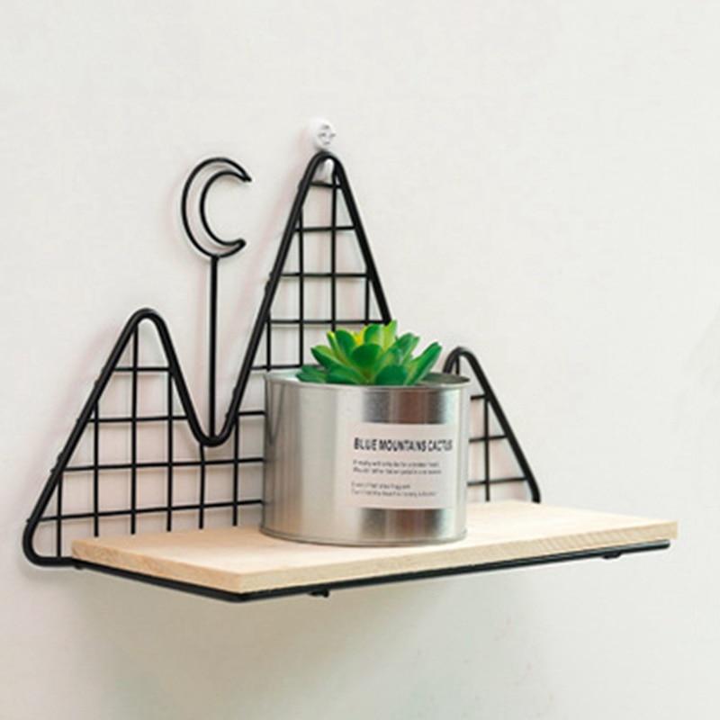 Nordic Ins Stijl Kamer Ornament Geometrische Smeedijzeren Muur Slaapkamer Creatieve Wandplank