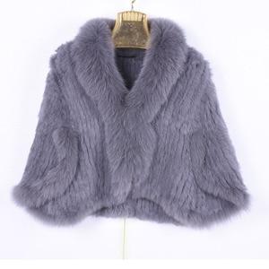 Image 1 - Kış kadın gerçek tavşan kürk örme tilki yaka ceket eğlence zamanı saf renk kürk ceket kadın moda kürk örgü yarasa gömlek