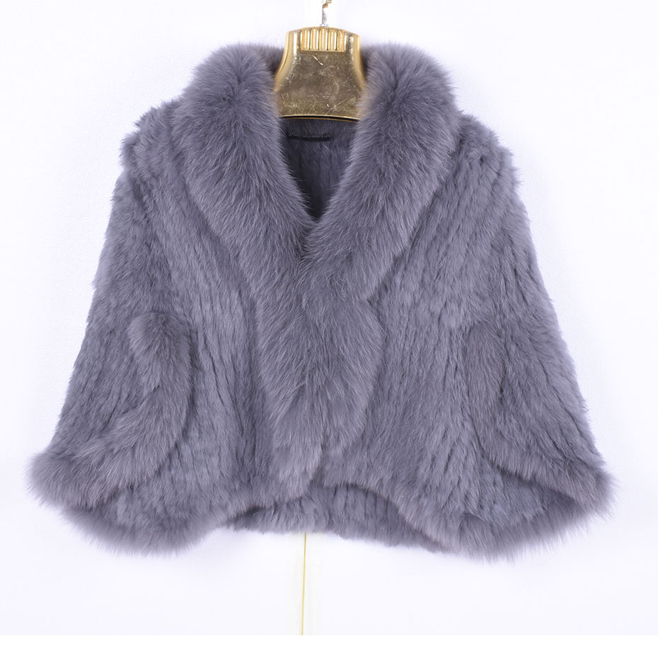 Winter Women's Real Rabbit Fur Knitted Fox Collar Jacket Leisure Time Pure Color Fur Coat Women's Fashionable Fur Knit Bat Shirt