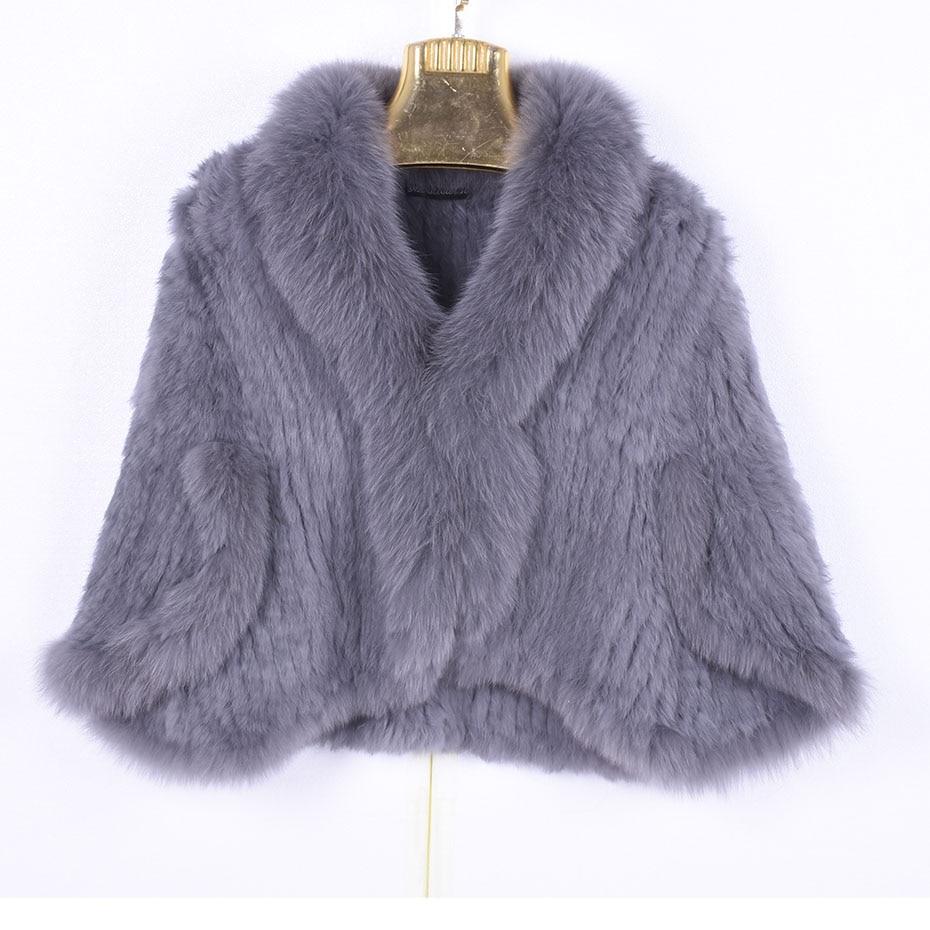 Winter Women's Real Rabbit Fur Knitted Fox Collar Jacket Leisure Time Pure Color Fur Coat Women's Fashionable Fur Knit Bat Shirt