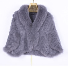 Winter Women's Real Rabbit Fur Knitted Fox Collar Jacket Leisure Time Pure Color Fur Coat Women's Fashionable Fur Knit Bat Shirt vr046 knitted knit new real rabbit