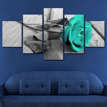 5 Pieces Canvas Print Blue Rose Flowers Home Decor Red HD Picture for Office Room Wall Purple Art Painting