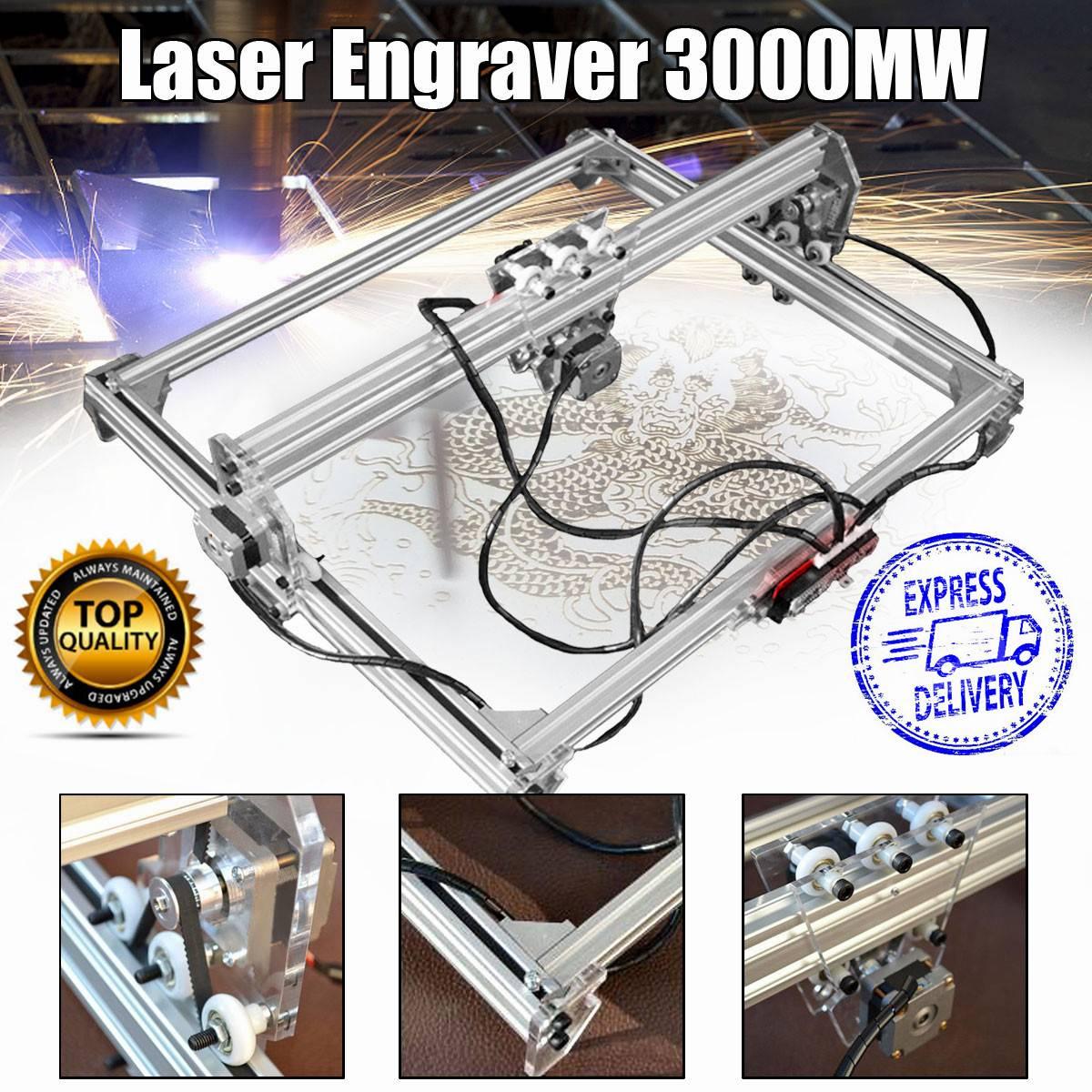 50*65 centímetros Mini 3000MW Azul Laser Engraving Gravador Máquina DC 12V DIY Desktop Cortador de Madeira/ impressora/Potência Ajustável + Laser