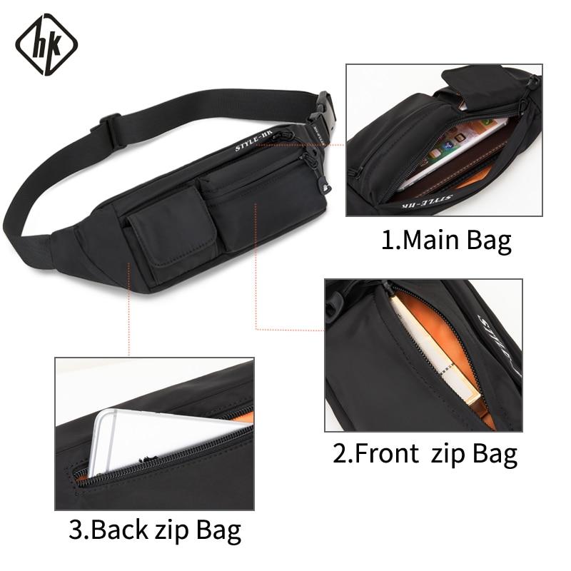 Hk Men Waist Bag Pack Teenager's Travel Phone Pouch for Men Fanny Pack Shoulder Crossbody Bag Wallet for Belt Unisex Hip bags