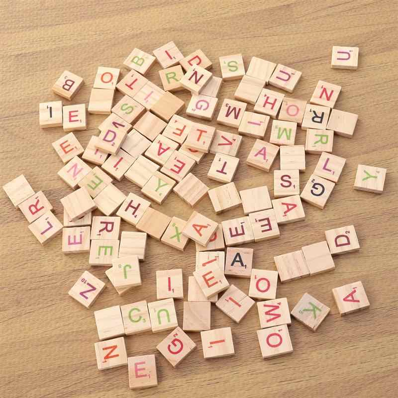 100 шт натурального дерева чипы DIY 26 английские слова из букв алфавита головоломки грамотности Box Детские Интеллектуальное развитие деревянные украшения