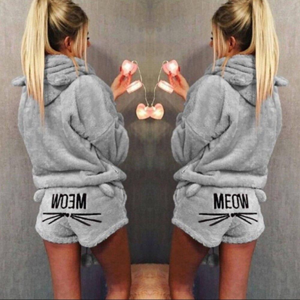 100% Wahr Thefound 2019 Mode Nette Mädchen Frauen Pyjama Sets Meow Herbst Winter Flanell Cartoon Warme Pyjamas Plus Strukturelle Behinderungen