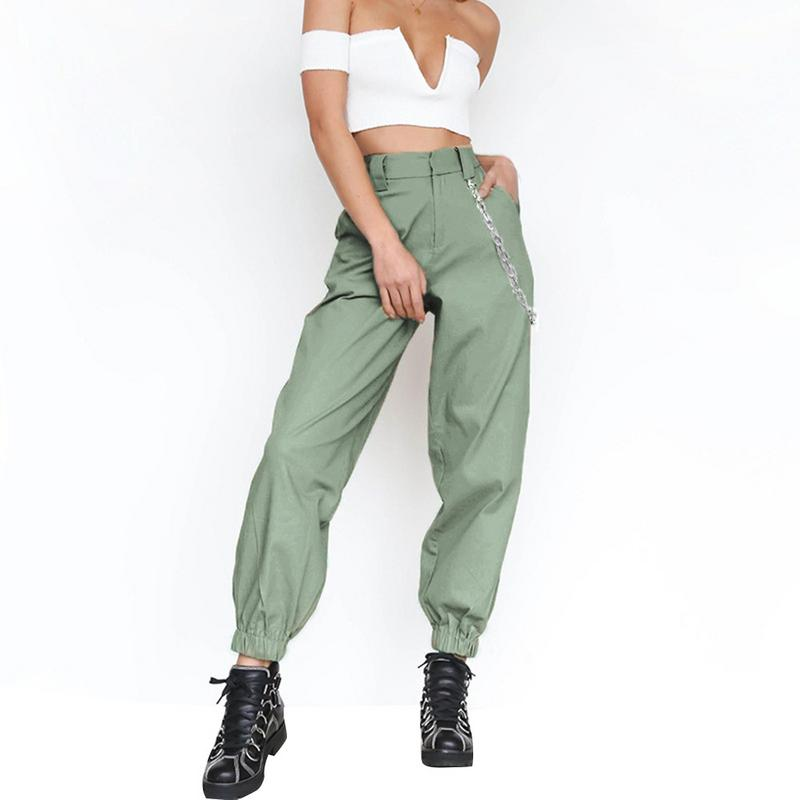 Streetwear Cargo Pants Women Street Style Personalized Solid Color Sports Casual Long Pants Loose Cool Fashion Harem Pants Chain