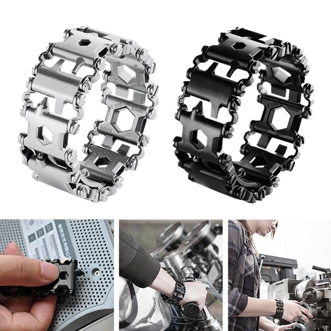 En plein air Spliced Bracelet Multifonctionnel Portant Tournevis Outil Main Chaîne Champ Survie Bracelet