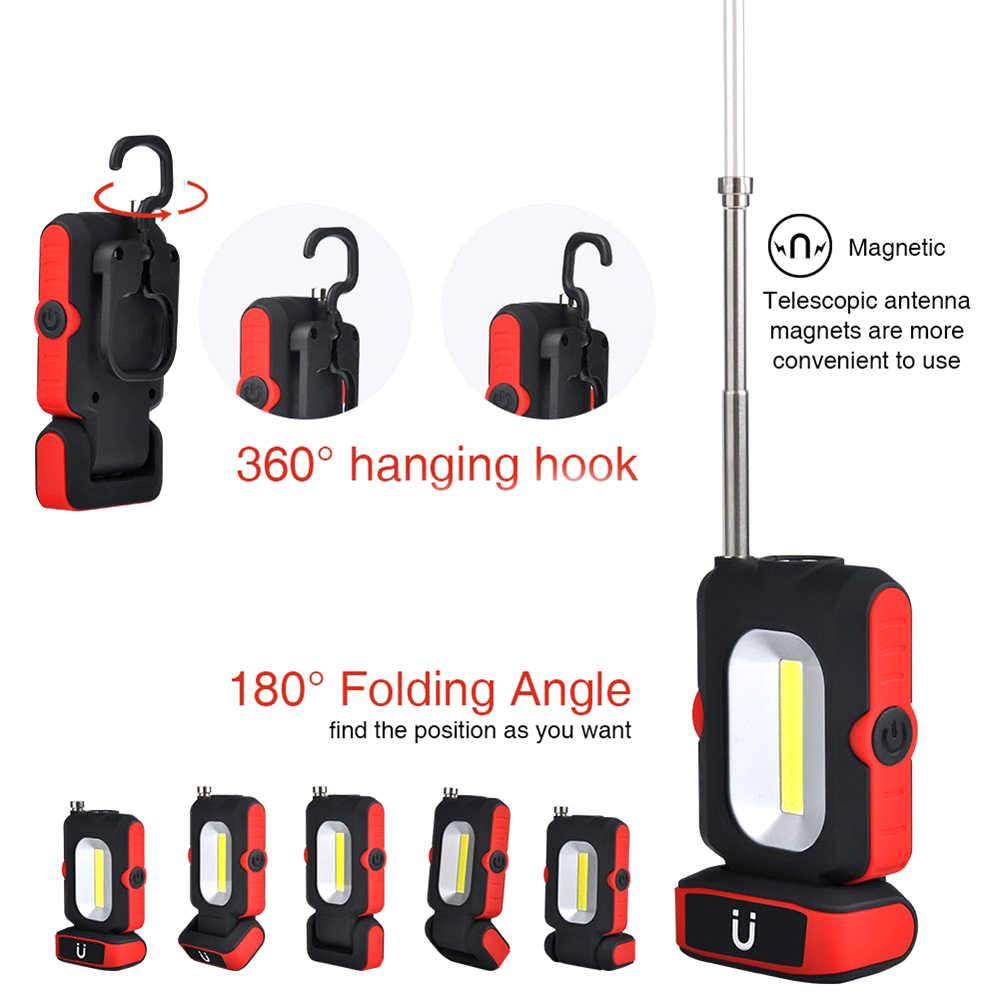 Портативный Питание от батареек или USB зарядка светодиодный рабочий свет Многофункциональный COB фонарик Магнитная база и подвесной крючок