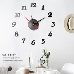 Modern Large Wall Digital Clocks 3D Mirror Sticker Unique Big Number Watch Art 3D DIY Acrylic Decor For Home Office Kids Room