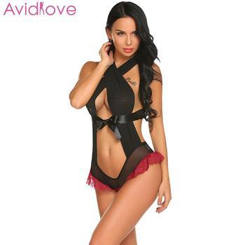 цена на Avidlove Teddis Sexy Lingerie Lace Ruffle Women Sexy Halter Neck Sleeveless Lace Patchwork See Through Lingerie Nightwear
