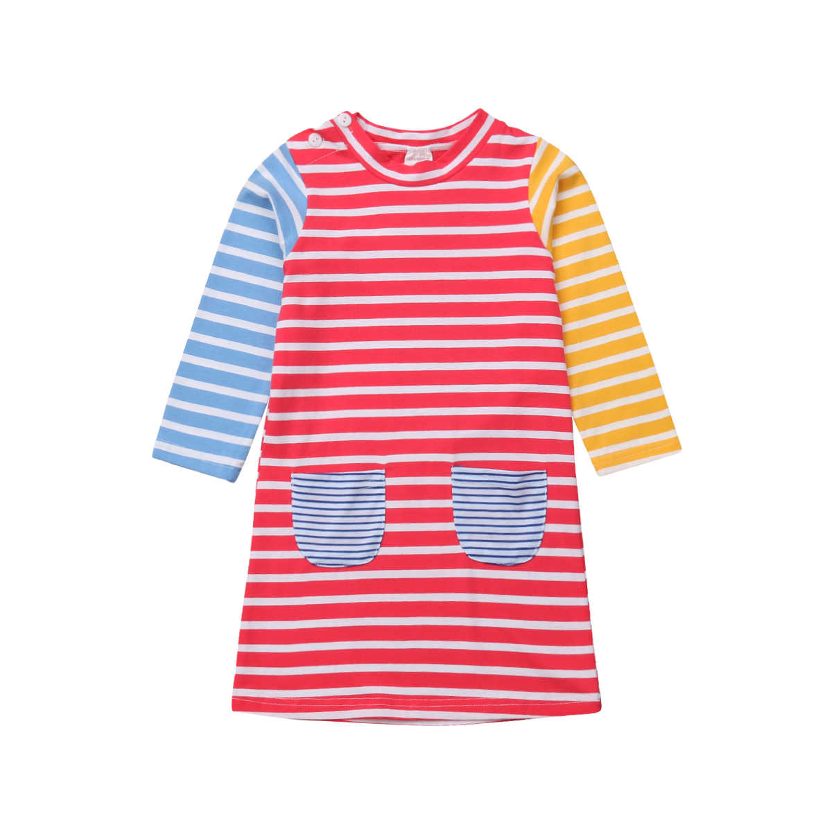 Toddler Kids Baby Girl Difference Color Long Sleeve Stripe Pocket Cotton Party Dress Clothes